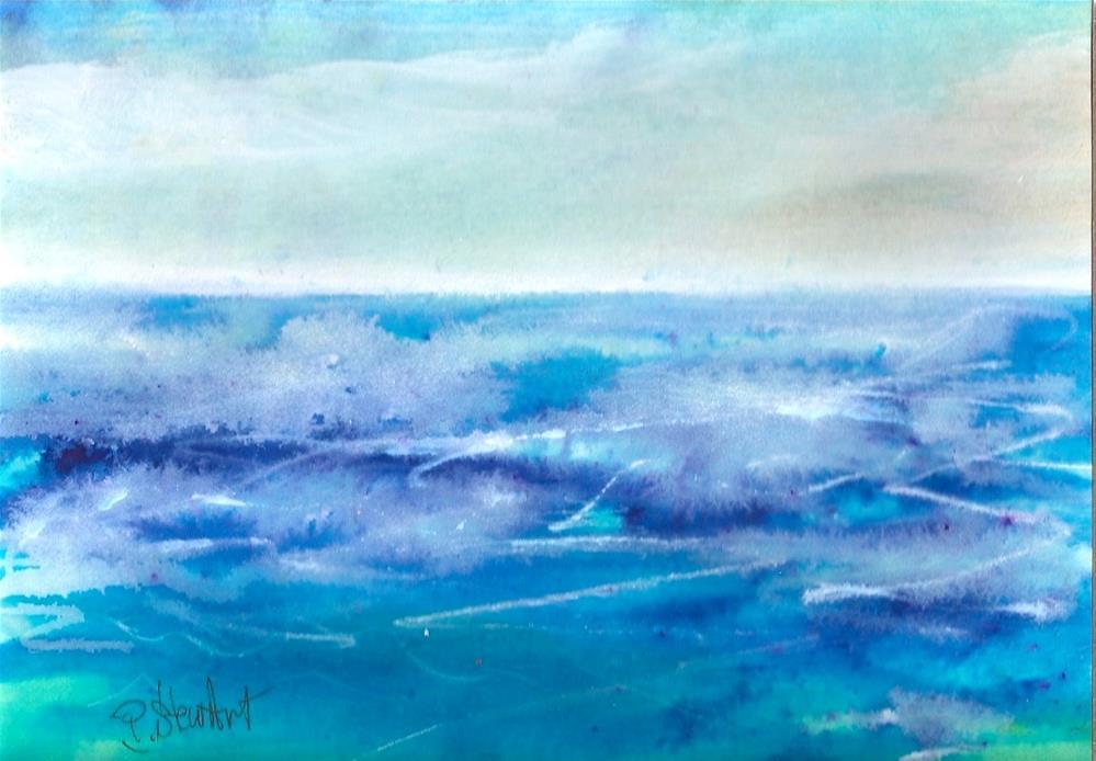 """""""5x7 Abstract Seascape Foamy Sea Watercolor Mixed Media Original Penny StewArt"""" original fine art by Penny Lee StewArt"""