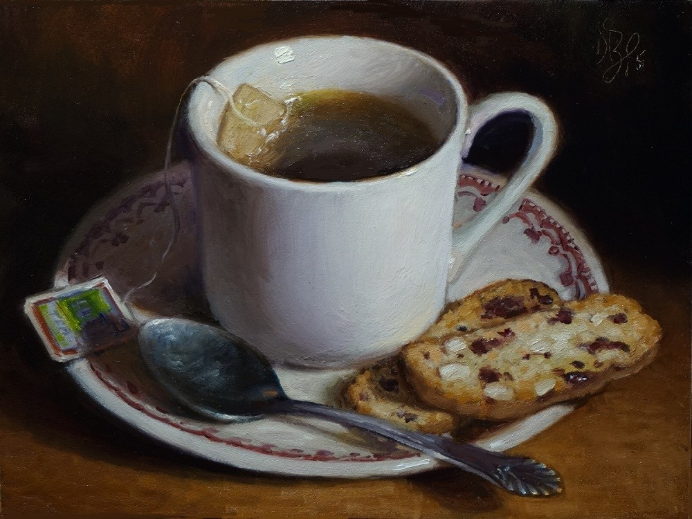 """Tea and Biscotti"" original fine art by Debra Becks Cooper"