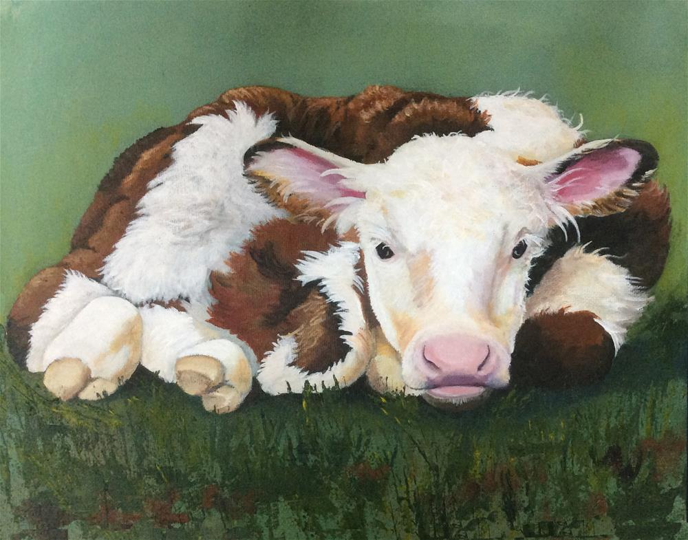"""Baby Calf"" original fine art by Michelle Wolfe"