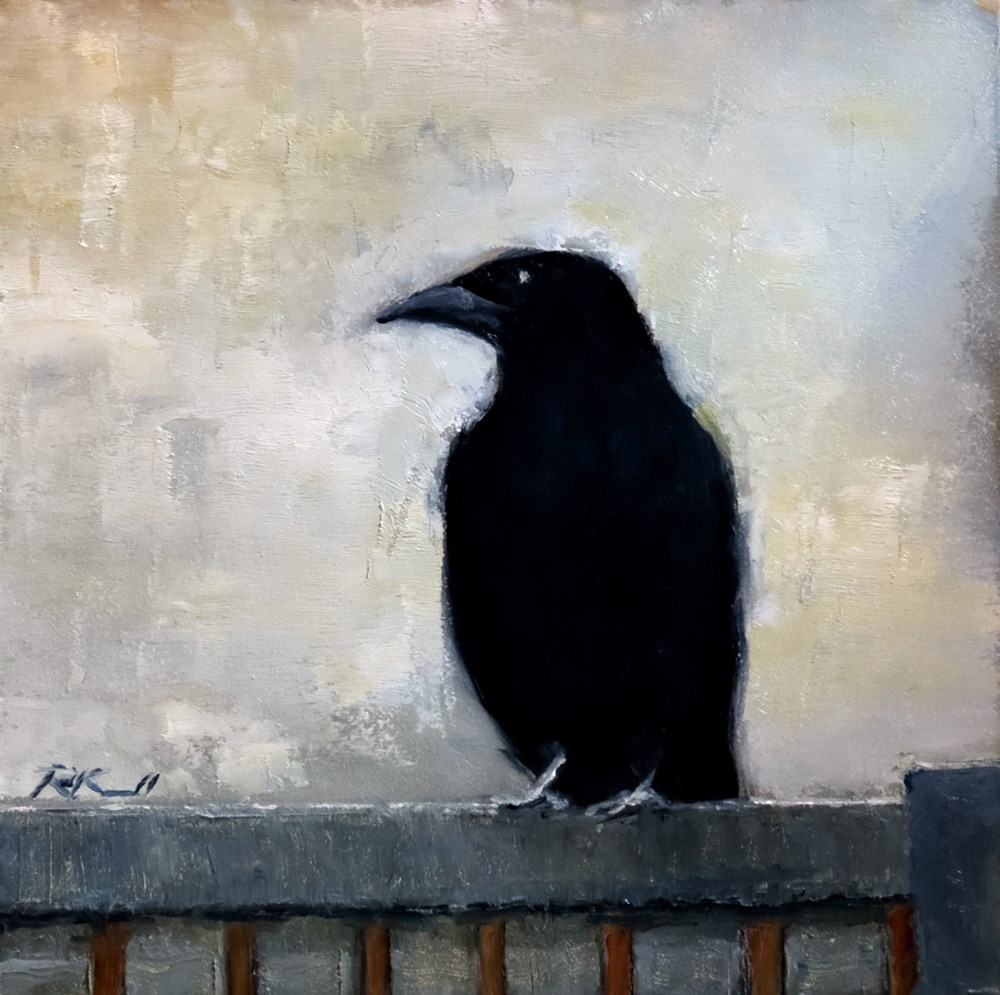 """The Raven on the Fence"" original fine art by Bob Kimball"