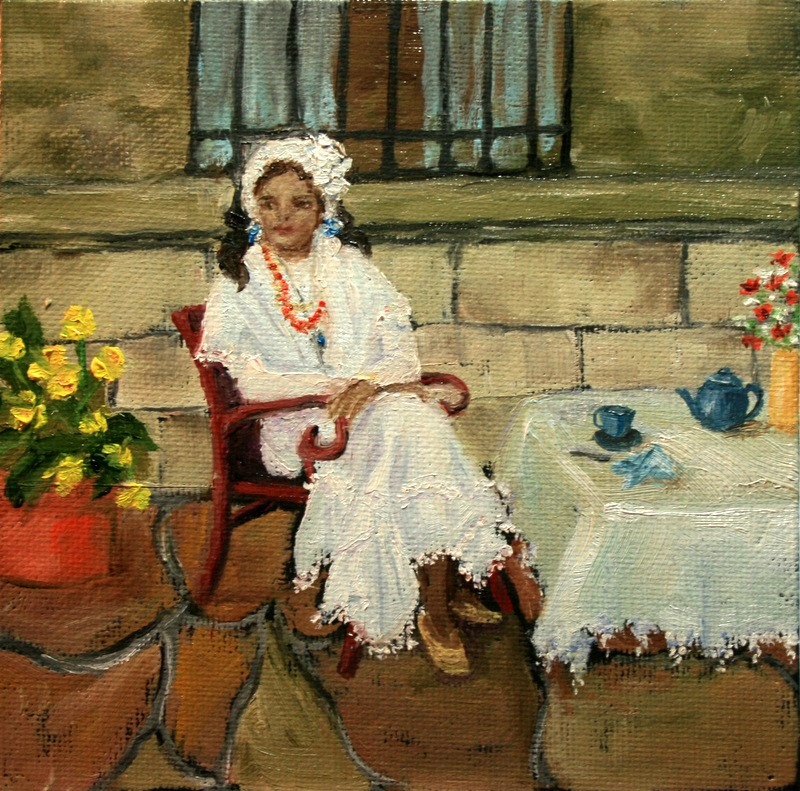 """White Lace"" original fine art by Jean Nelson"