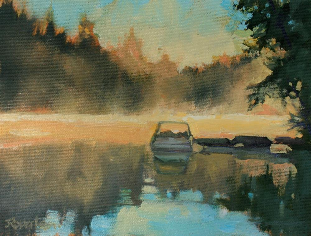 """Misty Morning at the Lake"" original fine art by Jane Robertson"