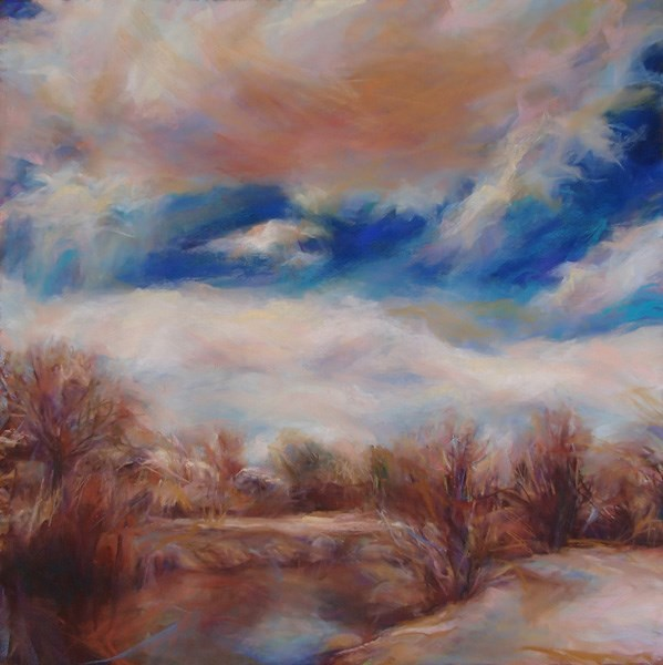 """BOSQUE BEFORE THE BUDS - 18 x 18 landscape pastel by Susan Roden"" original fine art by Susan Roden"