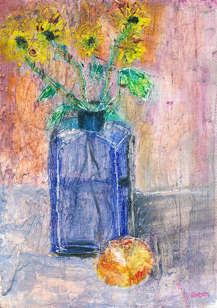 """Flowers in a Blue Bottle"" original fine art by Janet Gunderson"