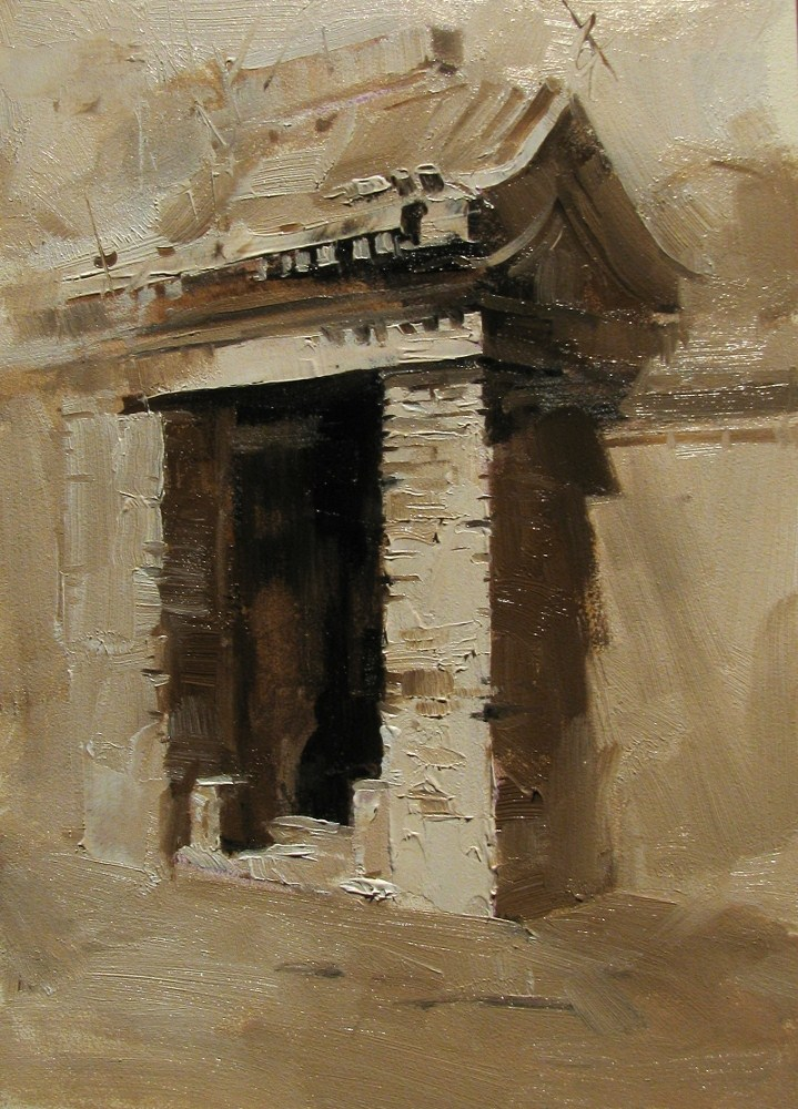 """On a Beijing Street"" original fine art by Qiang Huang"