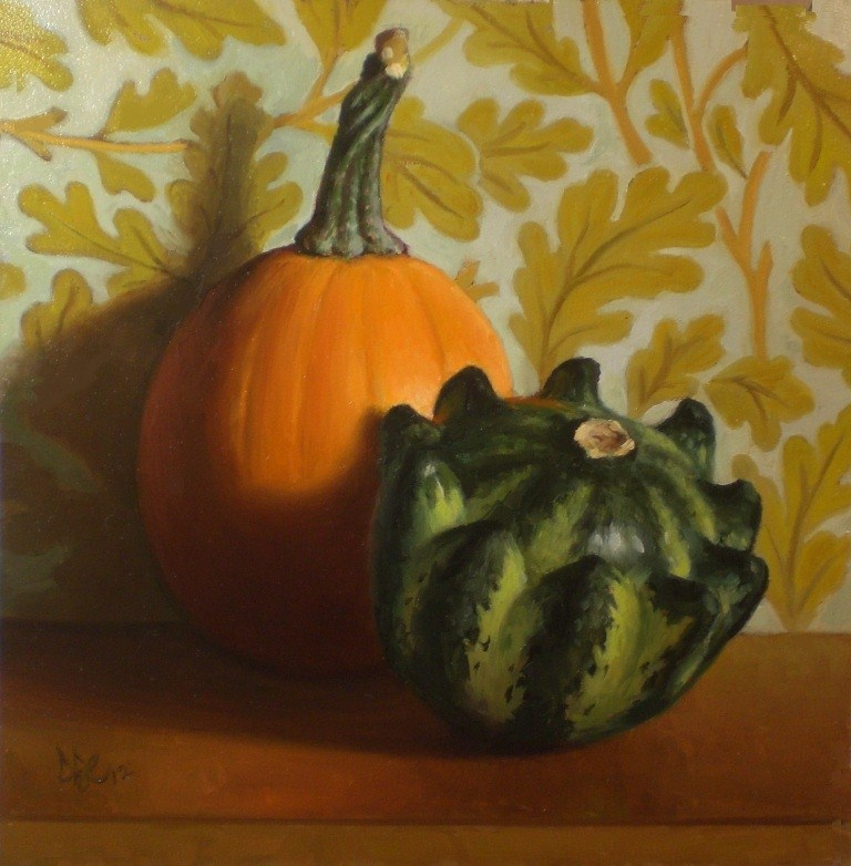 """Orange and Green Gourds"" original fine art by Debra Becks Cooper"