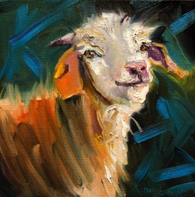 """Little Goat Face"" original fine art by Diane Whitehead"