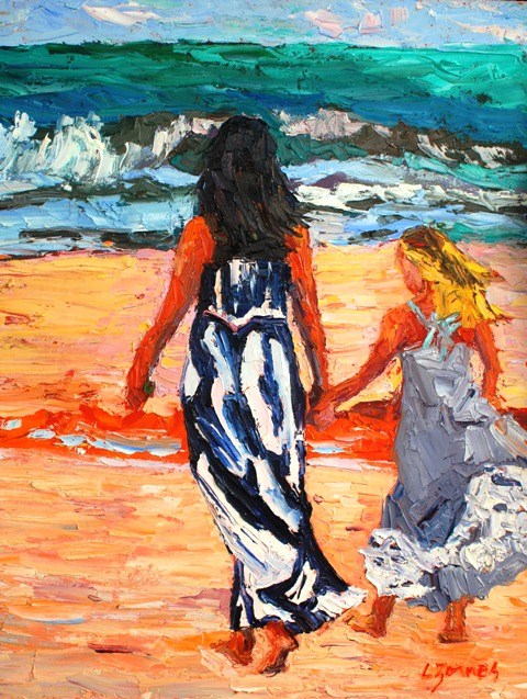 """Anne and Maddie at the Beach"" original fine art by Liz Zornes"