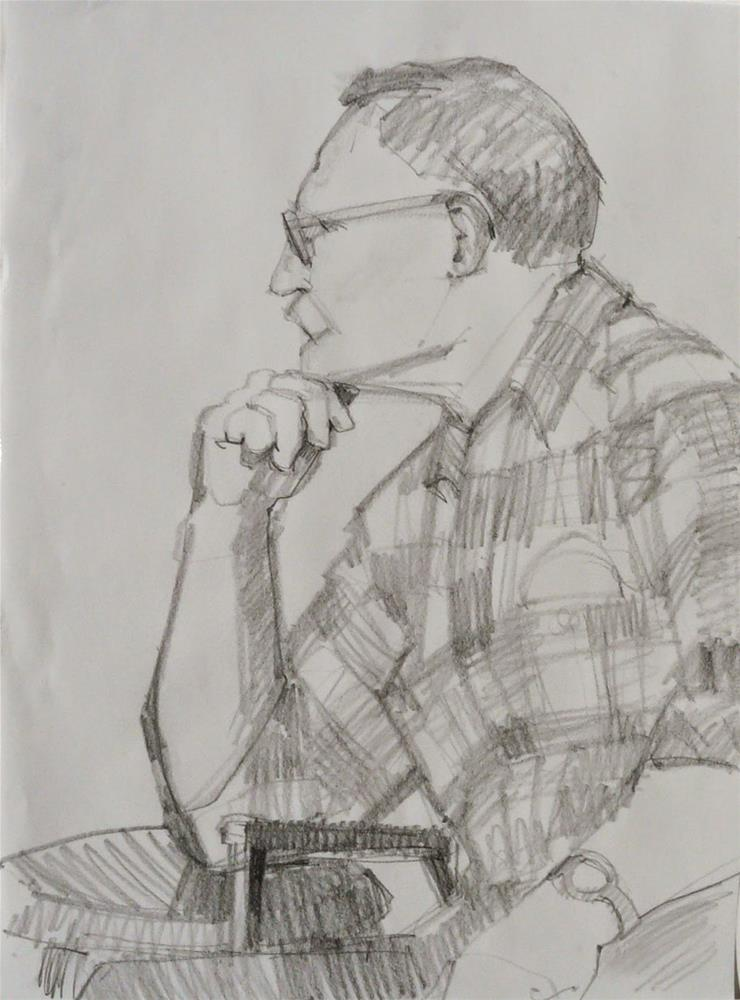 """John,figure,graphite drawing on paper,24x18,priceNFS"" original fine art by Joy Olney"