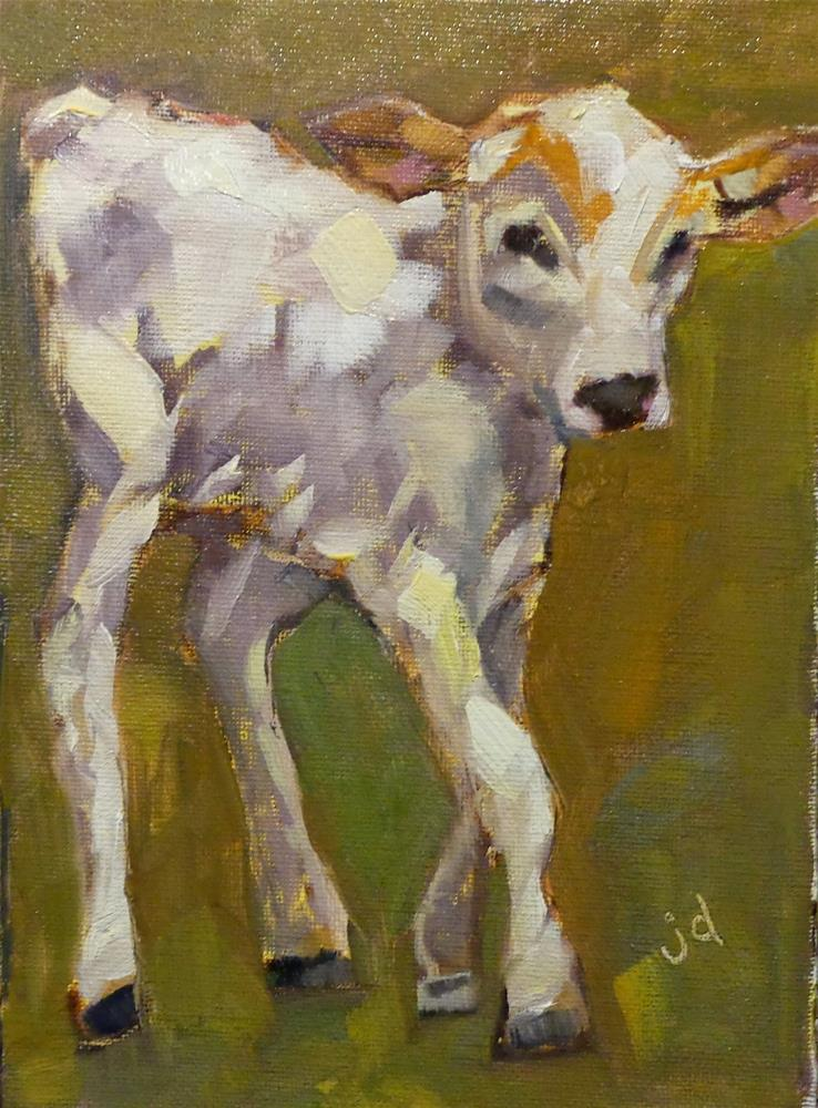 """Cow 24...New legs"" original fine art by Jean Delaney"