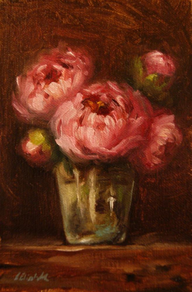 """Pink Peonies in Green Glass,  Oil on 4x6 Linen Panel"" original fine art by Carolina Elizabeth"