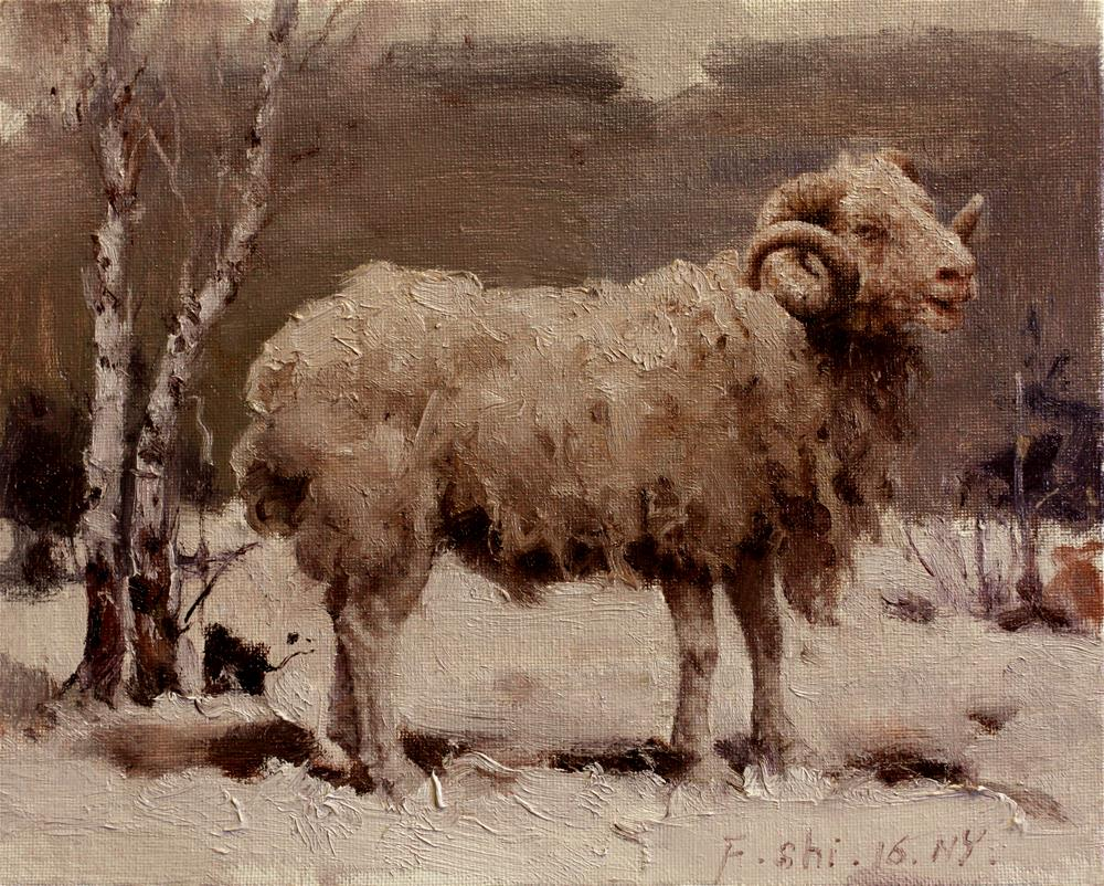 """Sheep"" original fine art by fengshi jin"