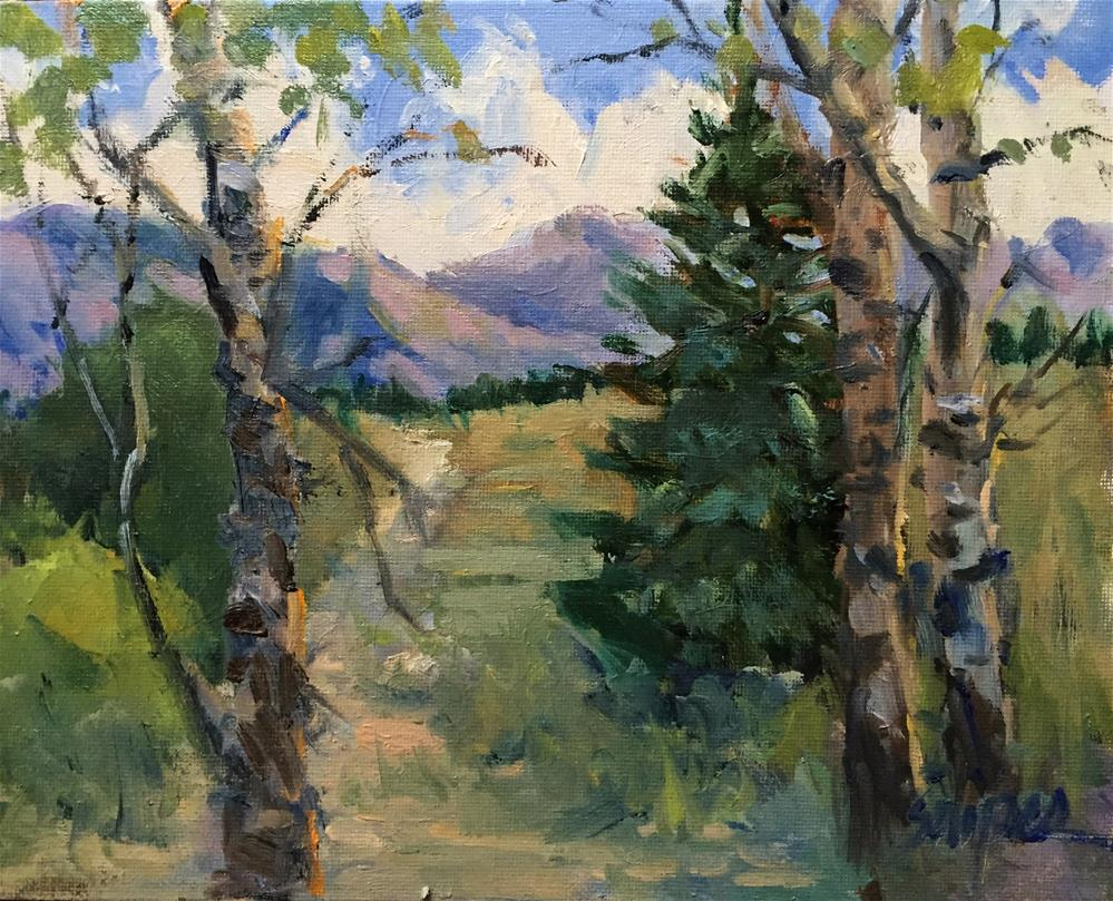 """Aspens and Mountains, Jackson Hole"" original fine art by Connie Snipes"