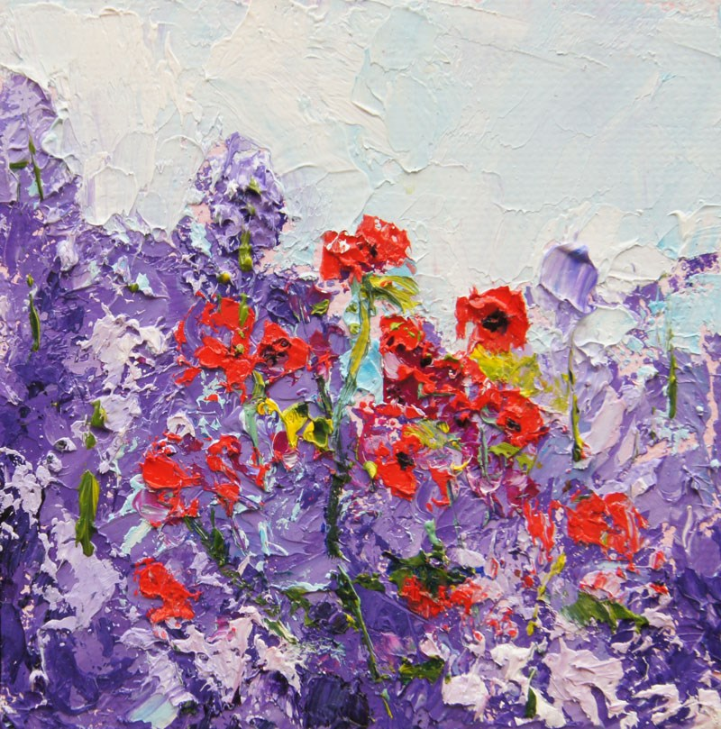 """Poppy Dance, Miniature Treasure palette knife painting, 4x4"" original fine art by Marion Hedger"