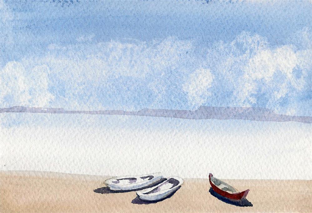 """Peaceful beach"" original fine art by Asha Shenoy S"