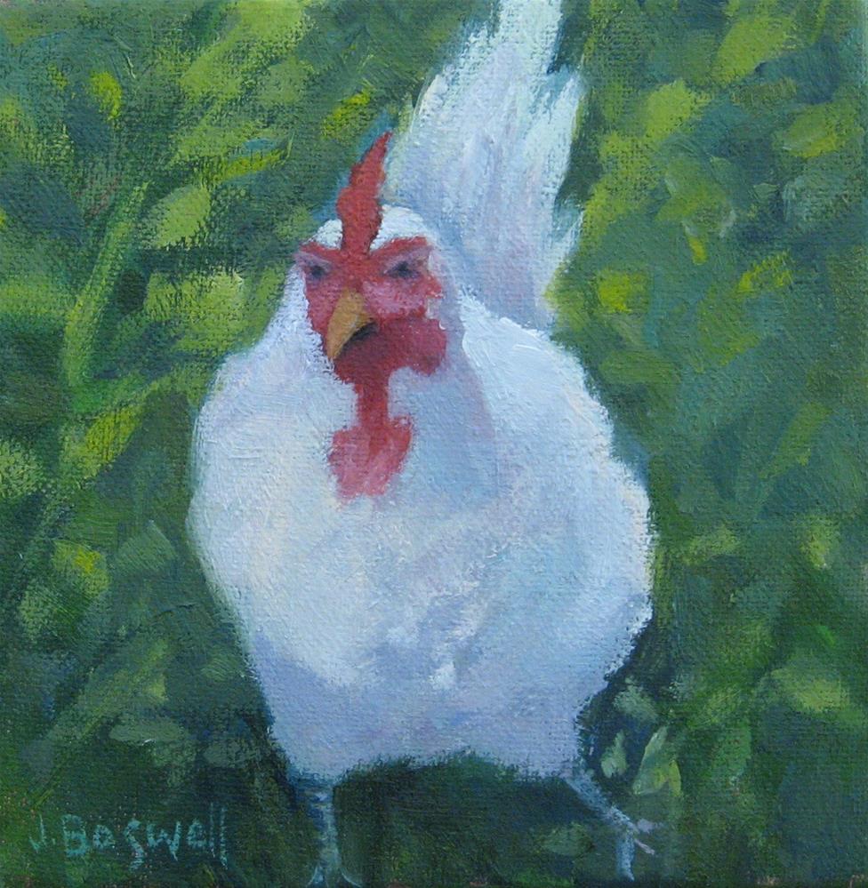 """White Chicken on the Run"" original fine art by Jennifer Boswell"