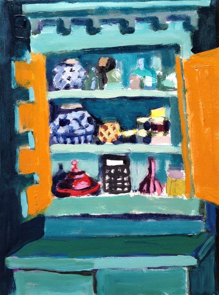 """Turquoise Cupboard/Marigold Doors"" original fine art by Pamela Hoffmeister"