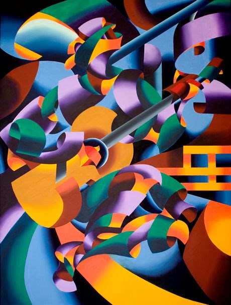 """Mark Webster - The Guitar Player in San Gimignano - Abstract Geometric Figurative Oil Painting"" original fine art by Mark Webster"