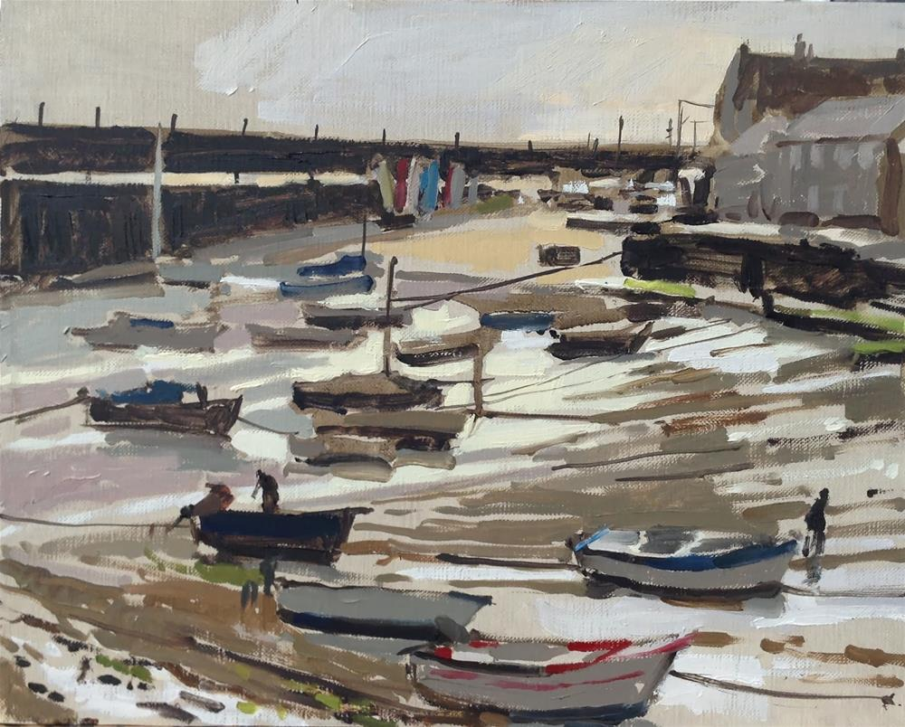 """Low tide in the harbour, Mousehole"" original fine art by Haidee-Jo Summers ROI"