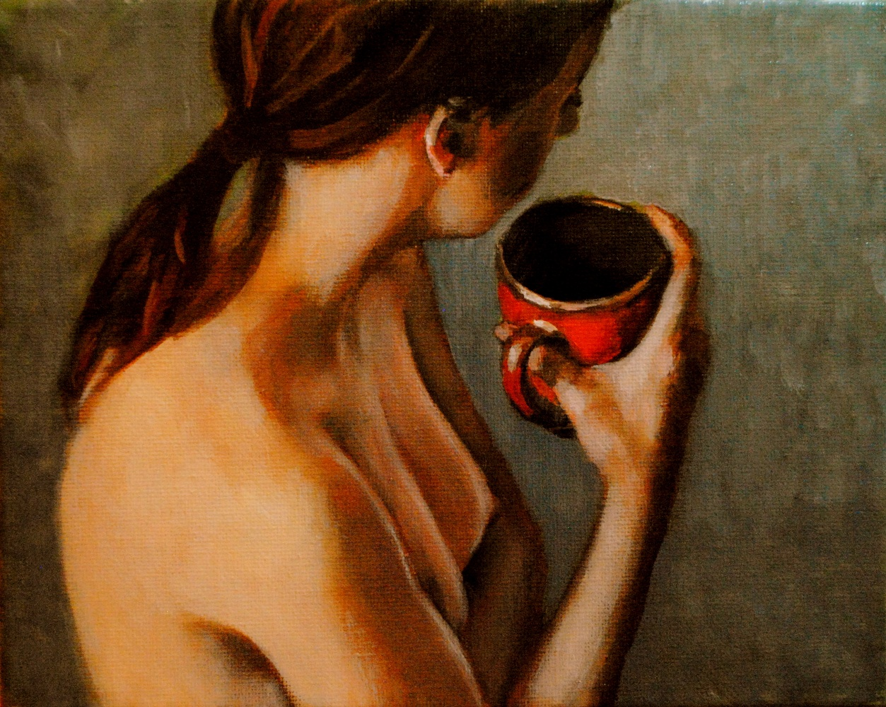 """The Red Cup 8x10 oil on canvas in darkwood frame"" original fine art by David Larson Evans"