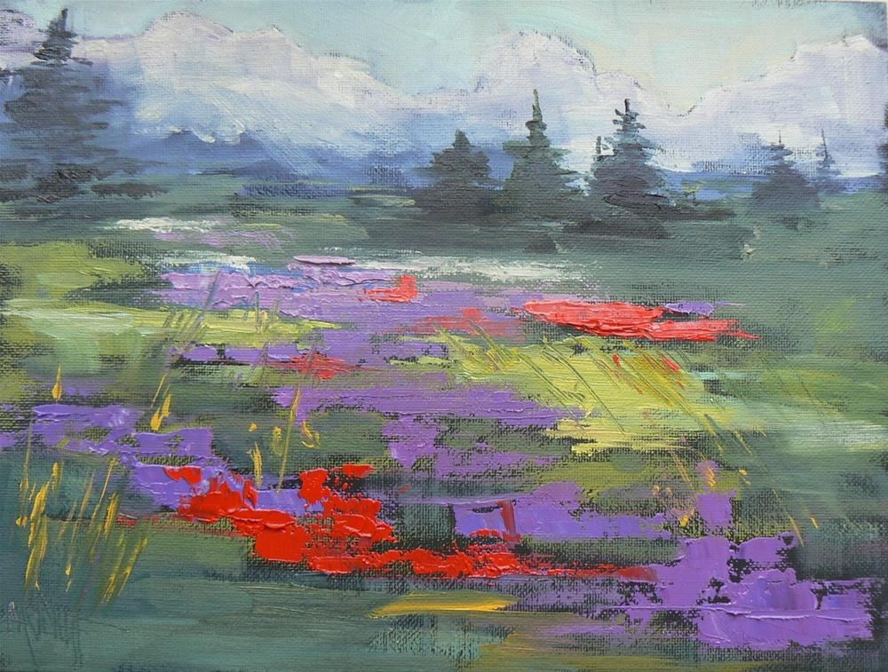 """Landscape Daily Painting Mountain Wildflowers, 6x8"" original fine art by Carol Schiff"
