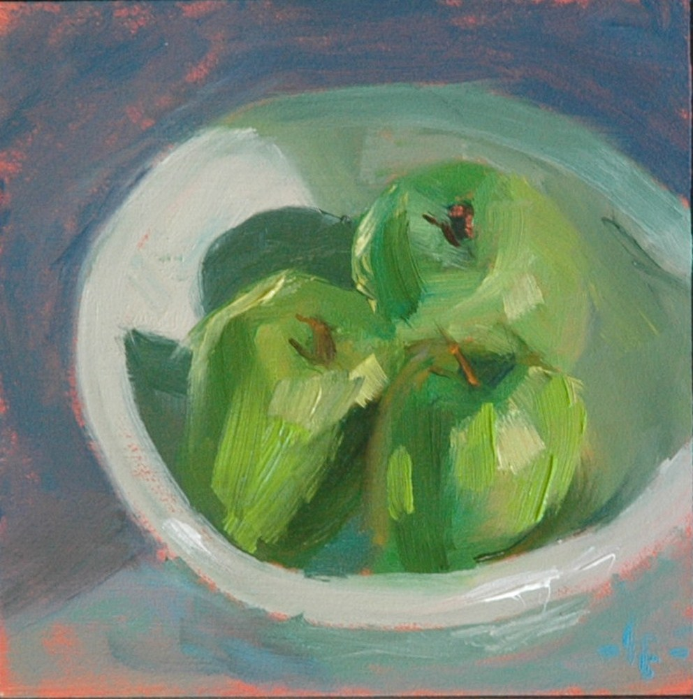 """TRIO IN A BOWL"" original fine art by Linda Popple"