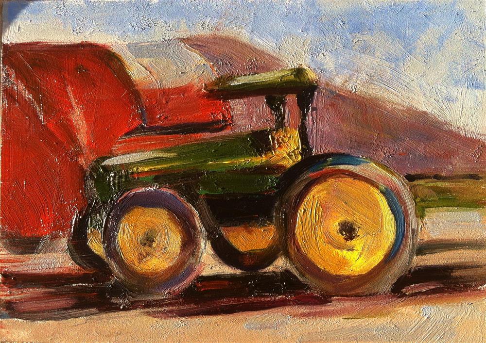 """Green Tractor"" original fine art by Karla Bartholomew"