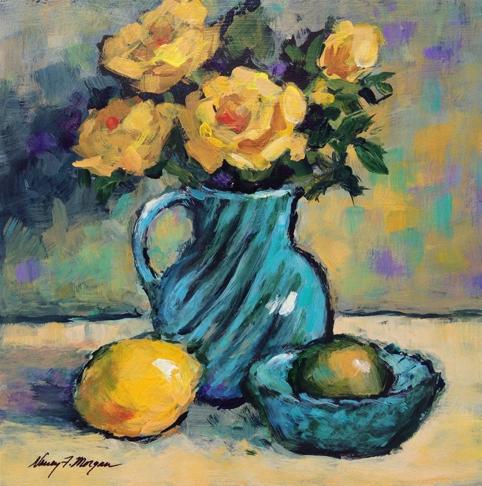 """Lemon, Lime and Roses"" original fine art by Nancy F. Morgan"