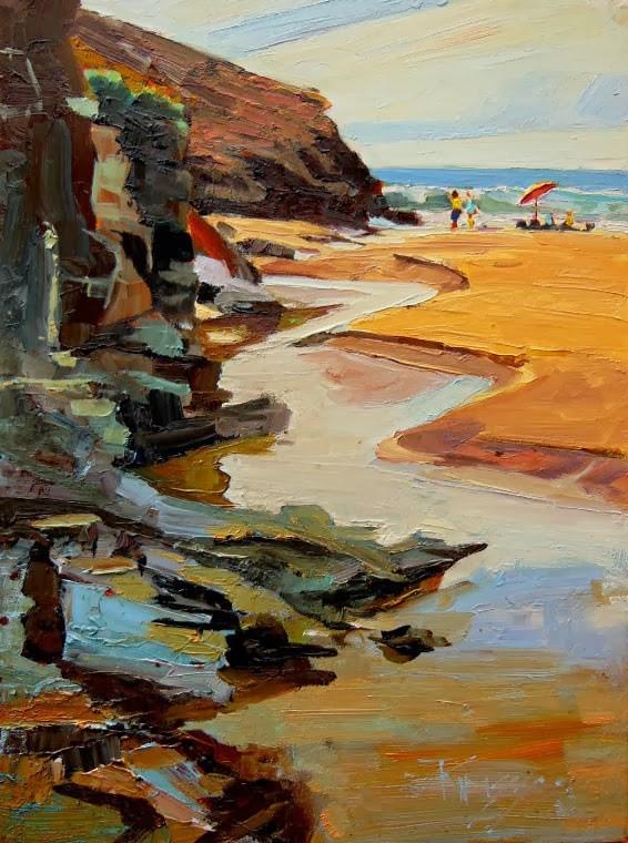 """""""Las Palmas Beach  Mexico, plein air coastal oil painting by Robin Weiss"""" original fine art by Robin Weiss"""
