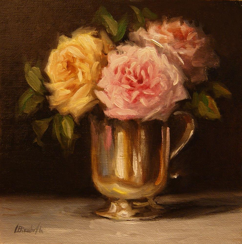 """Roses in Silver Cup,  Oil on 6x6 Linen Panel"" original fine art by Carolina Elizabeth"