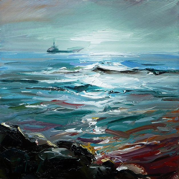 """Fischerboot am Horizont"" original fine art by Jurij Frey"