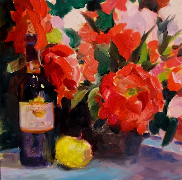 """Red Wine and Roses  still life oil painting with flowers and wine"" original fine art by Robin Weiss"