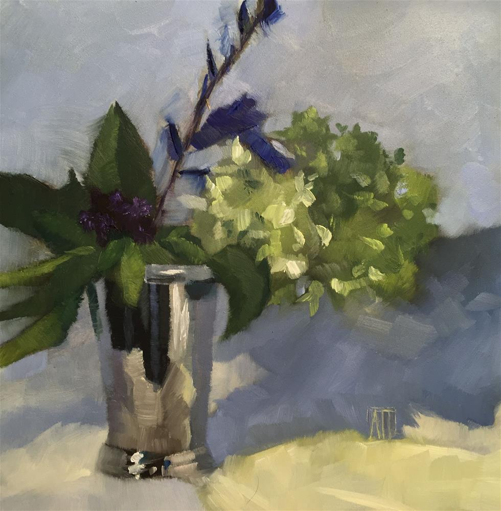 """Hydrangeas in Silver Cup"" original fine art by Amy Irwin Tank"