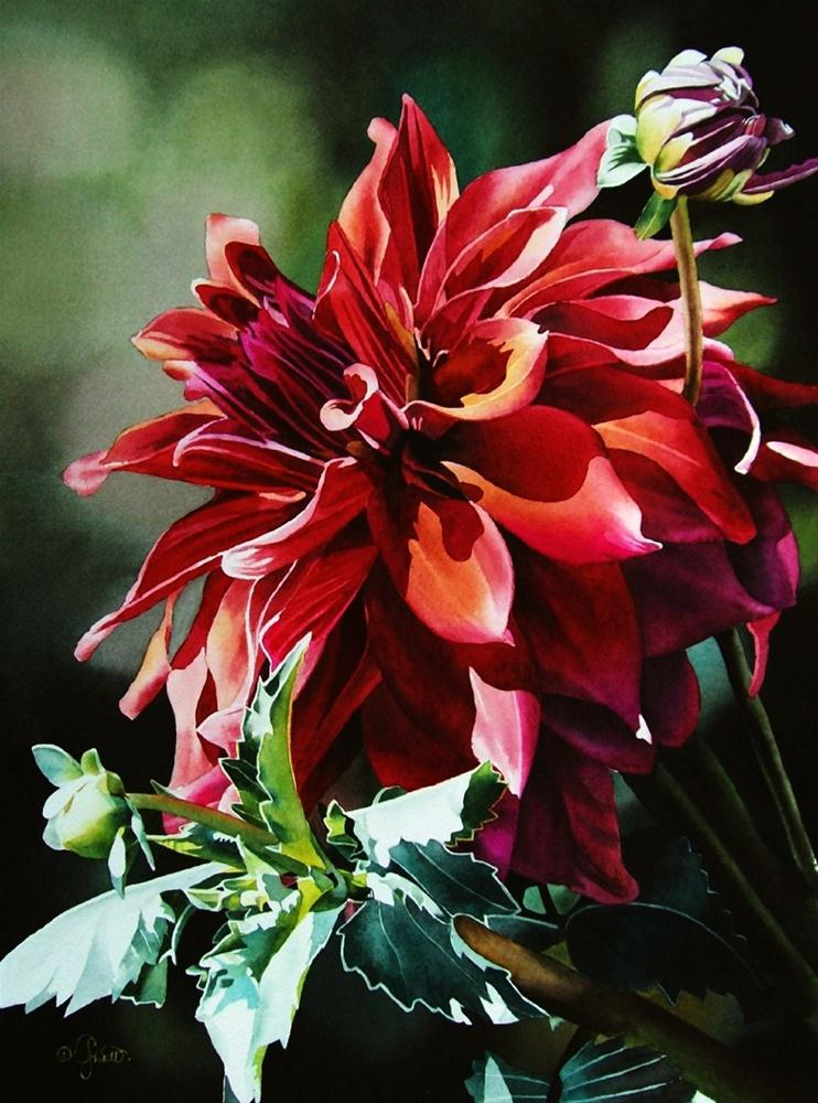 """Brite Red Dahlia"" original fine art by Jacqueline Gnott, whs"