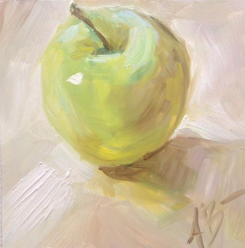 """Apple on white table"" original fine art by Annette Balesteri"