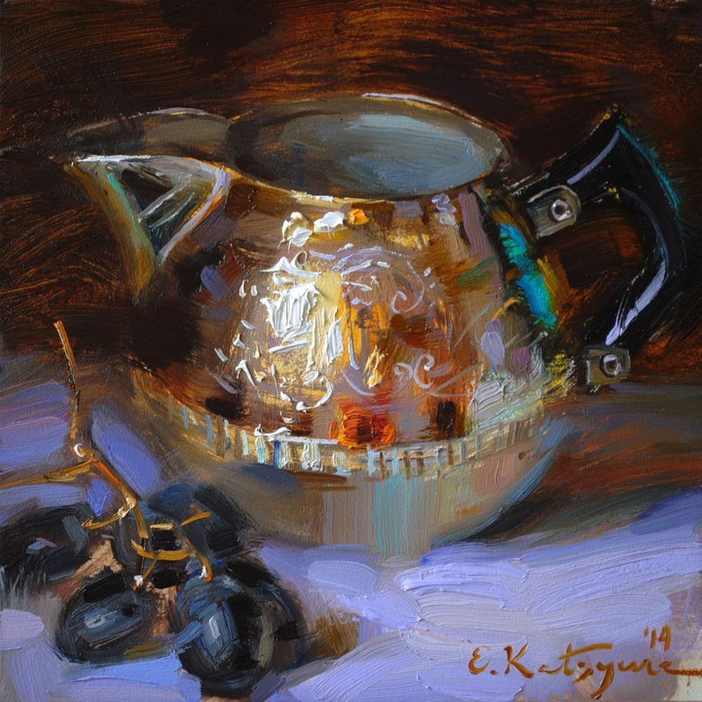 """Creamer and Black Grapes"" original fine art by Elena Katsyura"