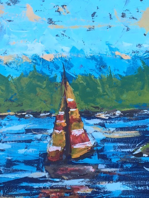 """Sailboat"" original fine art by Susan Elizabeth Jones"