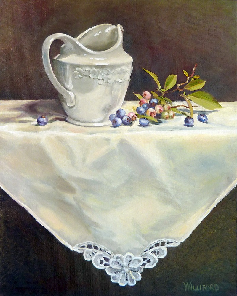 """Blueberries and Cream"" original fine art by Kathleen Williford"