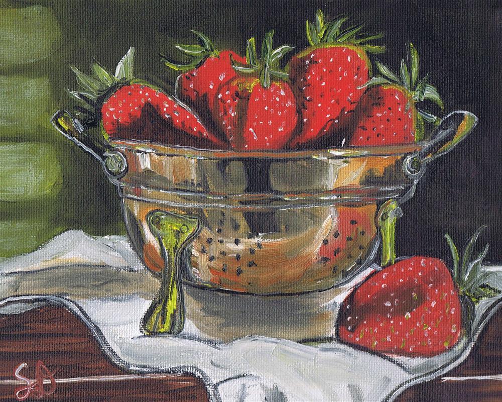 """""""Strawberries in a Copper Colindar II"""" original fine art by Samara Doumnande"""