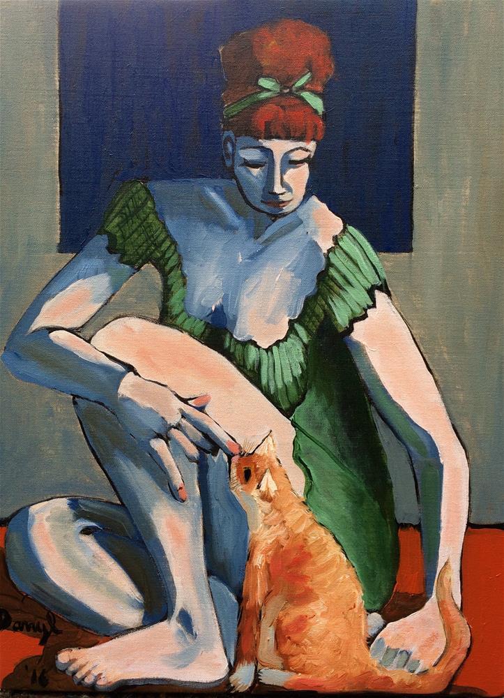"""Woman with an Orange Cat"" original fine art by Darryl Freeman"