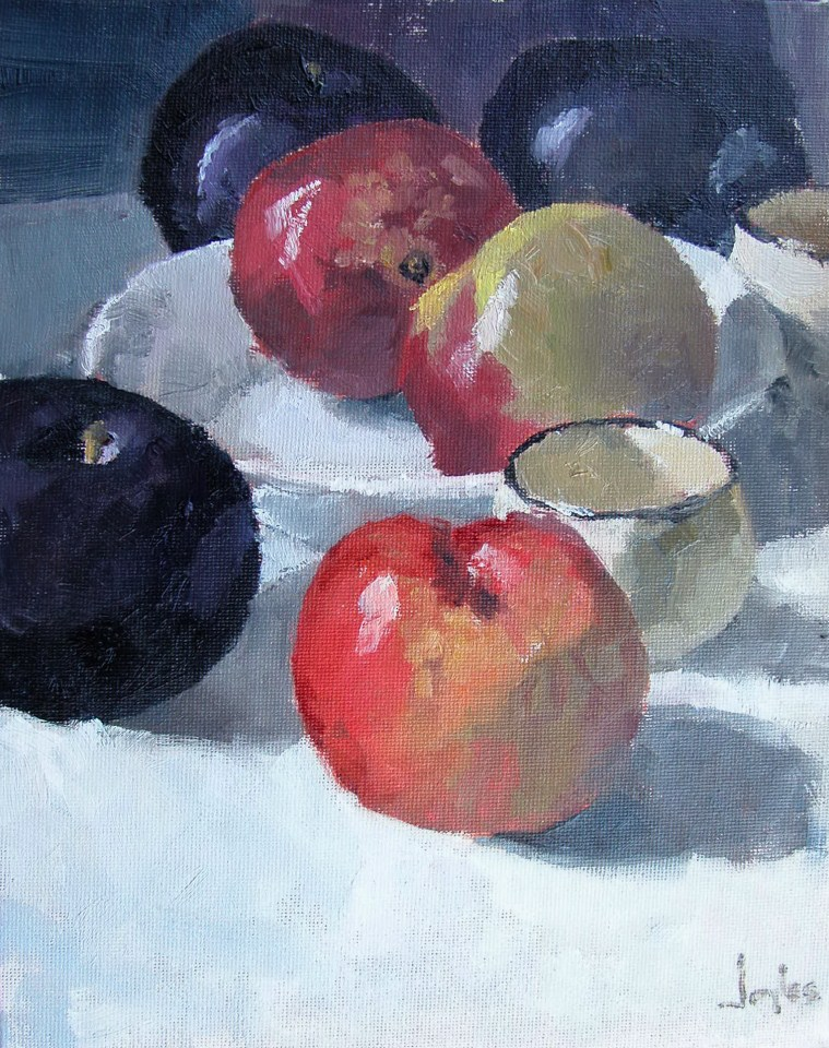 """Still Life with Plums"" original fine art by Richard Jones"