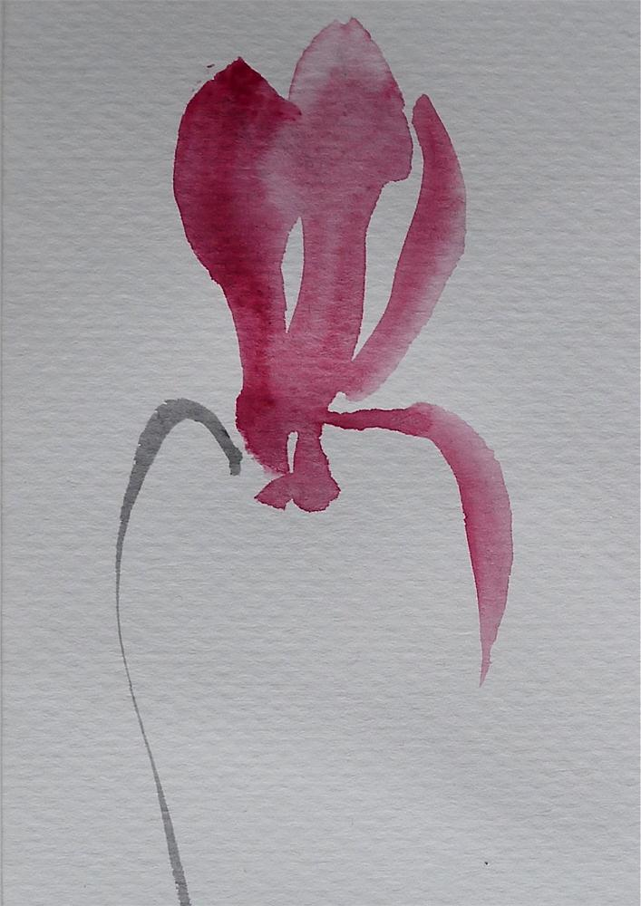 """Red cyclamen"" original fine art by Ulrike Schmidt"