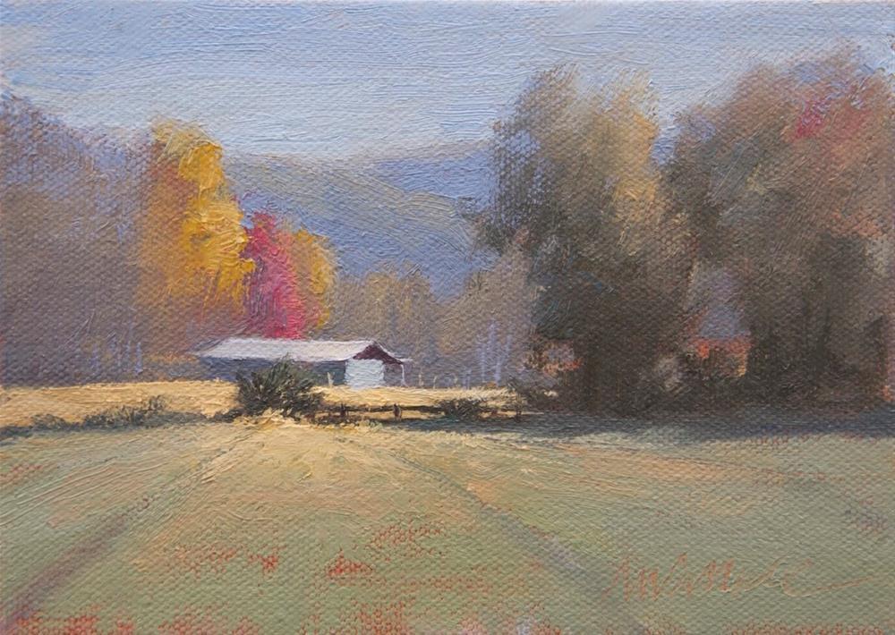 """#97 Bright barn 1"" original fine art by Nancy Wallace"