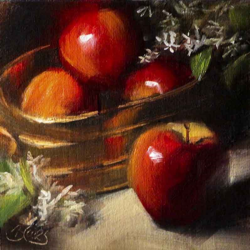 """Brass Bucket of Apples"" original fine art by Pamela Blaies"