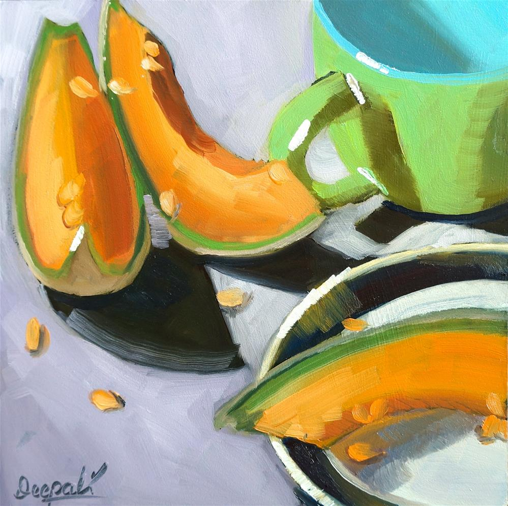 """Cantaloupe and cup"" original fine art by Dipali Rabadiya"