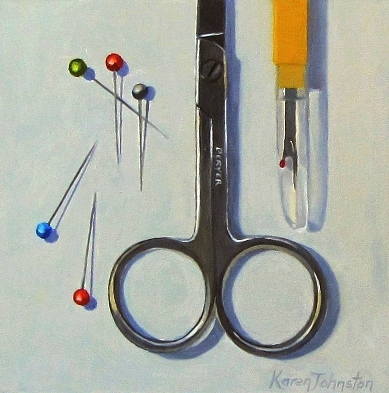 """Sewing Tools"" original fine art by Karen Johnston"