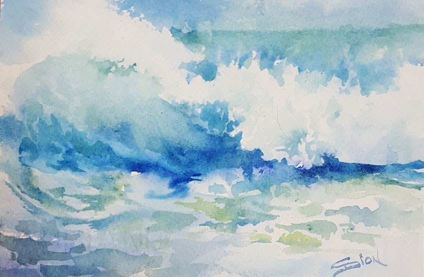 """Malibu Blue"" original fine art by Sue Dion"