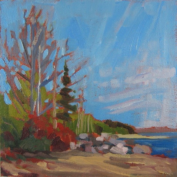 """Gentle Morning on the Shore, Georgian Bay"" original fine art by Nicki Ault"