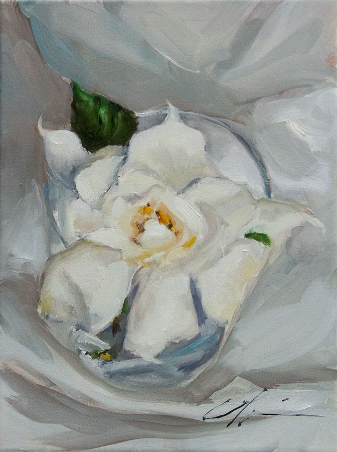 """First Gardenia"" original fine art by Clair Hartmann"