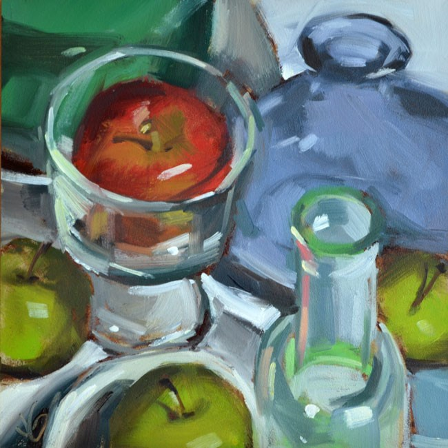 """Apples and Glass"" original fine art by Jessica Green"